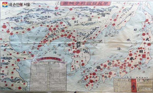 1904년 일본이 그린 러일전쟁 지도, 한반도가 일본의 전쟁놀이터로 다뤄졌음을 알 수 있다