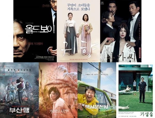 ▲ 코리아넷 프랑스 명예기자단이 한국영화 100주년을 맞아 가장 좋아하는 한국 영화를 한 편씩 소개했다. (왼쪽 위부터 오른쪽으로) 올드보이(2003), 귀향, 끝나지 않은 이야기(2015), 아가씨(2016). (아래 왼쪽부터 오른쪽으로) 부산행(2016), 가려진 시간(2016), 택시운전사(2017), 기생충(2019).
