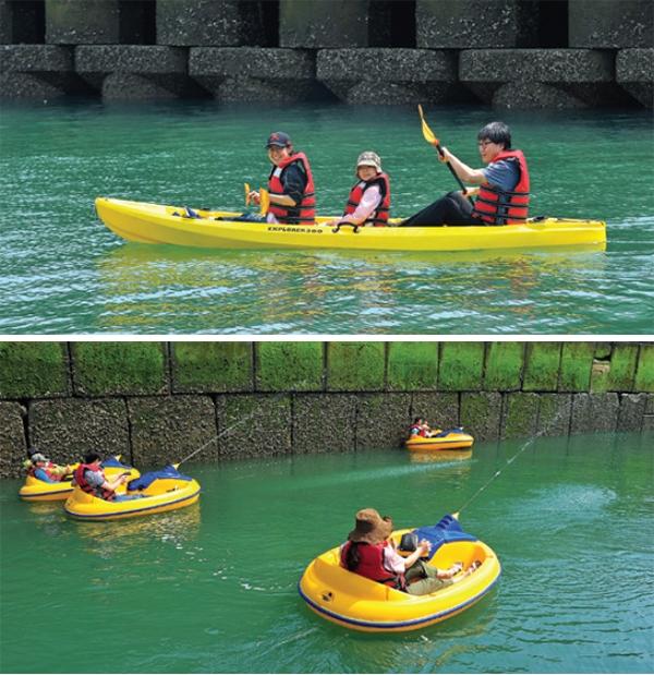 씨카약 체험(위)과 펀보트 체험(아래)를 즐기는 관광객들.