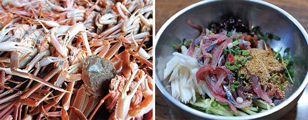 축산항의 바다 먹거리.