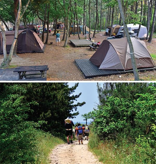 병술만마을 캠핑장(위)과 산책로 '샛별길'.